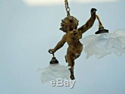 Lustre ange suspension sculpture angelot cherubin putti plafonnier Art Deco 1930