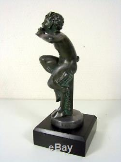 MAX LE VERRIER 1930s ART DECO Car Mascot SCULPTURE SATYR A LA FLUTE DE MIC