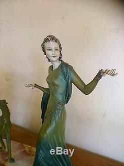 MENNEVILLE statue sculpture chryselephantine Art deco Femme lévrier woman 1925