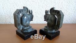 Max LE VERRIER Paire de Serre livres Écureuils sculpture Art Déco