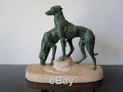 Max Le Verrier Ancienne sculpture lévriers Soif Du Desert signée Masson Art Déco