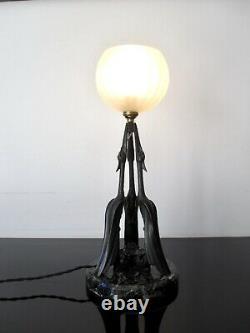 Max Le Verrier sculpture lampe Cigognes L. ARTUS M Le Verrier Art Deco