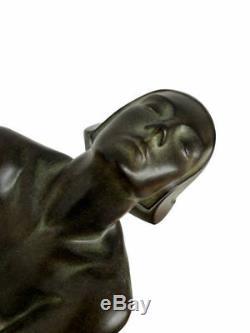 Max le Verrier Grand Éclairant Art Déco Sculpture Lampe