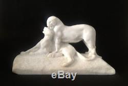 Maximilien Fiot (1886-1953) Rare Sculpture Couple De Pantheres 1930 Signee