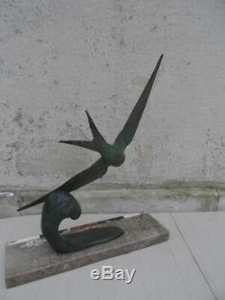 Oiseau Sterne Hirondelle De Mer Bronze Art Deco Sculpture (rochard, Lemonnier)