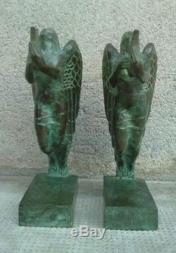 Paire de serre-livres BOULAY-HUE cire perdue VALSUANI sculpture MUSE bookends