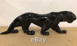 Panthère Art Deco Faïence Noire Sculpture Félin Tigre Craquelé Design