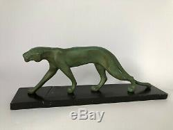 Panthere Art Deco Marti Font Regule Patine Verte Socle Marbre Noir 1930 C2522