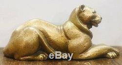 Panthère assise en Bronze Dorée signée Dulac Période Art déco