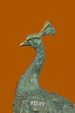 Paon Art Déco Fin Artisanal Bronze Sculpture Statue Figurine Figurine T