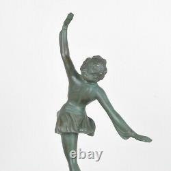 Patineuse, sculpture en métal, Art Déco, XXème Siècle