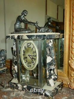 Pendule Sculpture Art Déco Femme Gazelle Mouvement Squelette
