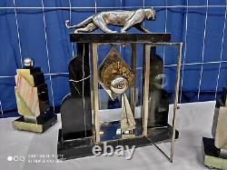 Pendule art déco Panthère bronze chromé 1920 1930 sculpture clock