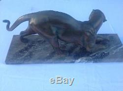 Plagnet panthère sculpture bronze fonte art deco