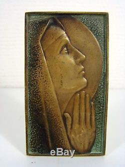 Plaque Bronze Art Déco MADONE Signée Max Le Verrier D 6,8 x 12 cm