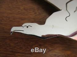 Presse papier / Sculpture. Aigle chromé, signé BG, Art déco, 17,5 x 28 cm