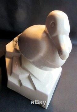RARE Sculpture céramique craquelée Art Déco, signée GEO CONDE La MOUETTE