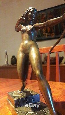 RARE statue moderniste Art Deco en bronze signée A. SOLEAU, 1900 sculpture