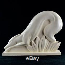 Rare PRIMAVERA Sculpture Lévrier ART DECO France Céramique Blanc Craquelé 1930