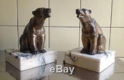 Rare Paire De Sculptures Epoque Art Deco 1930 Ours Polaires Dlg Lavroff
