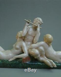 Rare Sculpture Ceramique Art Deco Ary Bitter & Jean Besnard, Dieu Pan & Nymphes