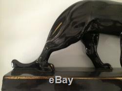 Rare Sculpture En Ceramique Epoque Art Deco 1930 Panthere Signee