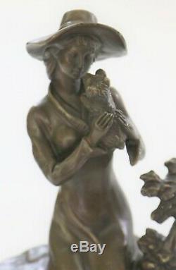 Rare Signé Lady W / Chien Bronze Statue Figurine Art Déco Sculpture Décor