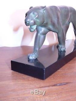 Rare panthère max le verrier art deco sculpture félin bronze regule chic
