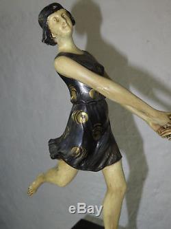 Rare sculpture Art Déco HENRI FUGERE marbre et regule