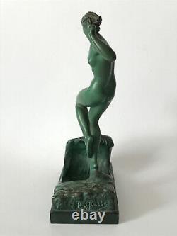 Raymonde Guerbe / La vague (Le Faguay, Le Verrier) Art Deco 1930 sculpture nu