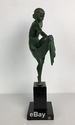 SCULPTURE ART DÉCO EN REGULE SIGNÉE LE VERRIER Max LA DANSEUSE À L'ÉCHARPE
