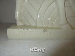 SCULPTURE LEMANCEAU CERAMIQUE CRAQUELE L 45 cm, H 30 cmANTILOPE ART DECO