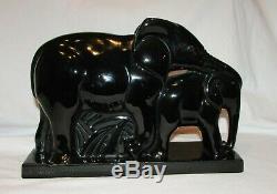 STATUE ELEPHANTS LEMANCEAU ART DECO 1930 NOIR Saint clement french sculpture