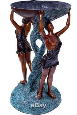 STATUE EN BRONZE 118cm SCULPTURE FEMMES COUPE STYLE ART NOUVEAU DECO