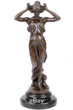 STATUE EN BRONZE 34cm SCULPTURE STYLE ART NOUVEAU DECO FEMME STATUETTE