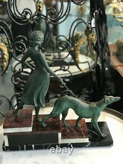 SUPERBE Sculpture ART DECO Femme Au Levrier En Régule Socle Marbre