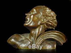 Salvator RIOLO buste art-déco de Jean Mermoz sculpture aviation 6,4 kg avion