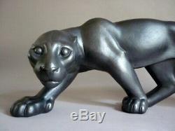 Scarpa Sculpture Grande Panthere Noire En Marche Ceramique Art Deco 1930