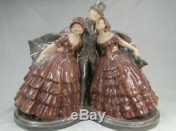 Sculpture Art Deco Fanny Rozet Grand Groupe Ceramique Terre Cuite Craquele 1920