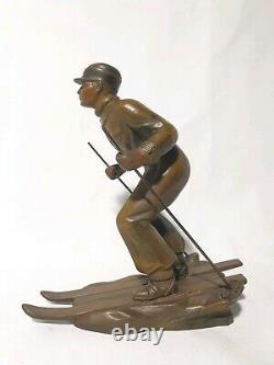 Sculpture Art Déco Skieur en régule polychrome signé BRUNSWICK