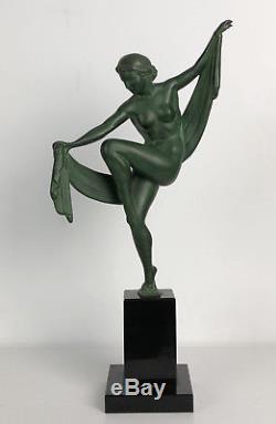 Sculpture Art Déco (attribué A) Max. Le Verrier La Danseuse À L'écharpe