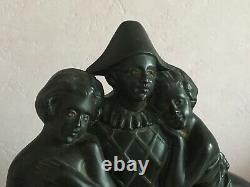 Sculpture Art Déco, régule Pierrot Arlequin sur socle en marbre