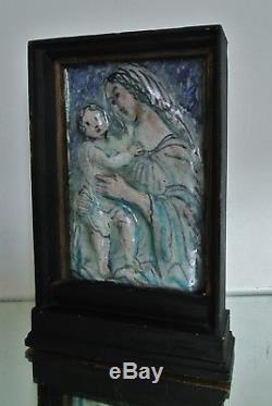 Sculpture Bas relief céramique CAZAUX, Rouault VIERGE ART DÉCO à identifier