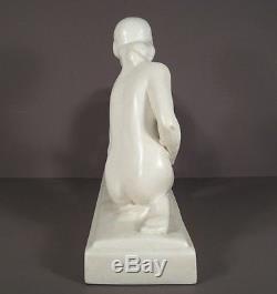 Sculpture Céramique Diane Signée Lemanceau  / Céramique Craquelée Art Déco