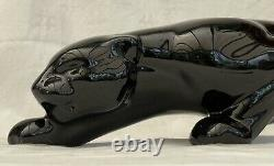Sculpture, Céramique animalière, panthère noire, Art Déco