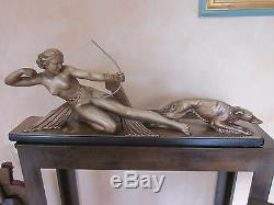 Sculpture De S. Melani En Platre Diane A L Arc Et Son Chien Art Deco 1925/30