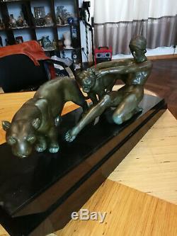 Sculpture En Régule Art Déco Femme Et Lionnes Garanti Années 30 Grand Model