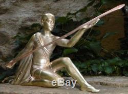 Sculpture Ephèbe au Javelot 1930 Bronze Art Deco d'inspiration Grèce Antique