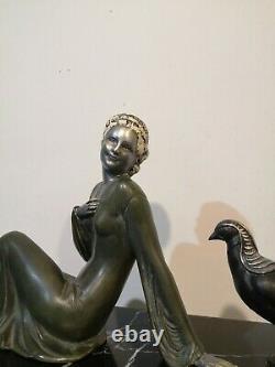 Sculpture Femme Art Deco Regule 1930 1940 Sur Marbre