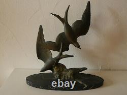 Sculpture Hirondelles De M. Font Marbre Art Deco 1920 1930